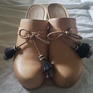 Loeffler Randall Tan Leather Clogs with Tassels